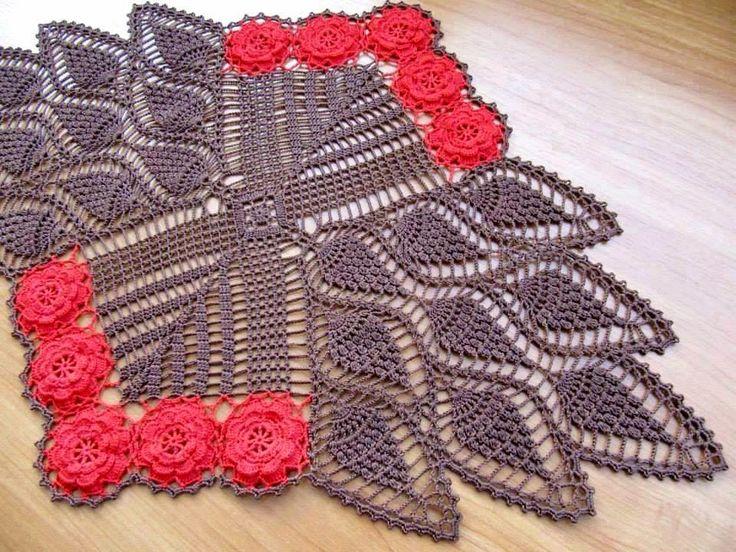 Hoje tem Flor !!!: Trilho de mesa em croche com grafico
