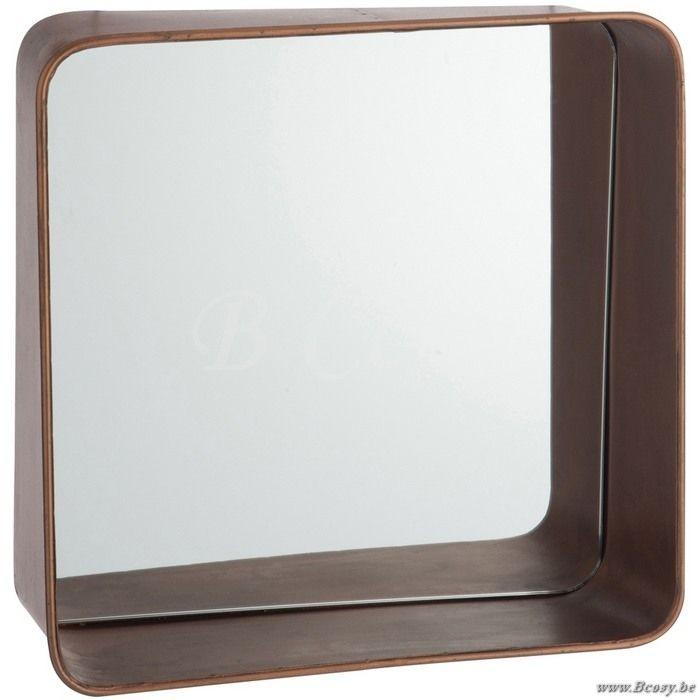J-Line Vierkante spiegel met brede rand koper 23 - Kaders Spiegels Wand - BCosy Webshop Boutique Web Vente en Ligne
