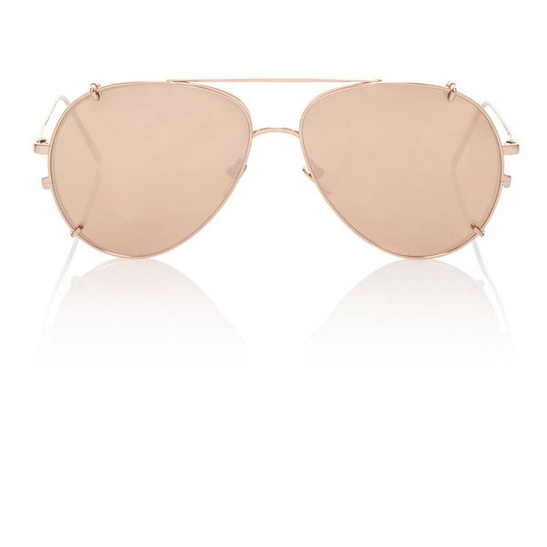 Linda Farrow Rose-Gold Aviator-Style Sunglasses (£905) ❤ liked on Polyvore featuring accessories, eyewear, sunglasses, gold, mirrored aviators, rose gold mirrored sunglasses, mirrored aviator sunglasses, mirrored lens sunglasses and rose gold aviators