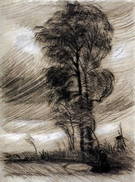 Landscape in Stormy Weather, 1885 by Vincent van Gogh. Realism. sketch and study. Van Gogh Museum, Amsterdam, Netherlands