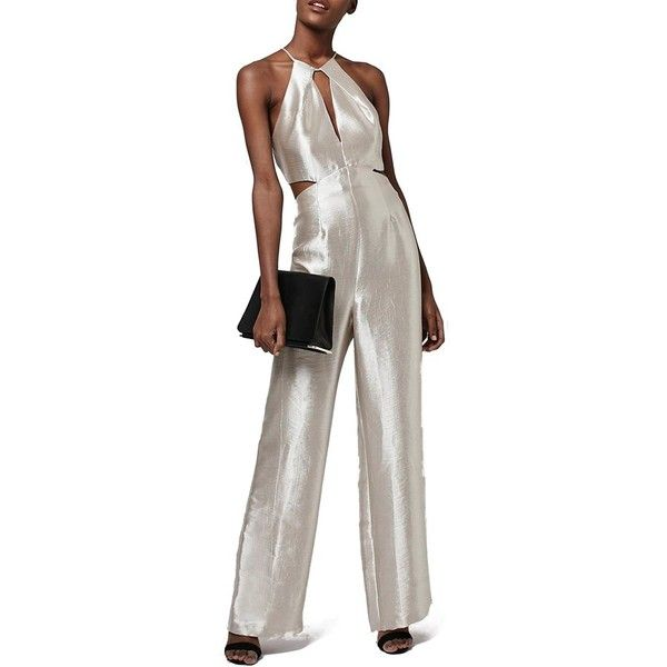 Topshop Cutout Metallic Jumpsuit (£92) ❤ liked on Polyvore featuring jumpsuits, silver, halterneck jumpsuit, brown jumpsuit, halter neck jumpsuit, jump suit and silver jumpsuit