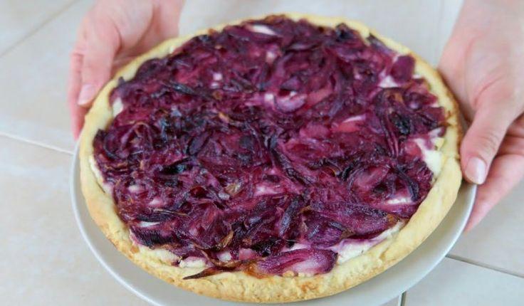 CROSTATA SALATA DI CIPOLLE ROSSE Ricetta Facile Caramelised Red Onion Tart easy recipe