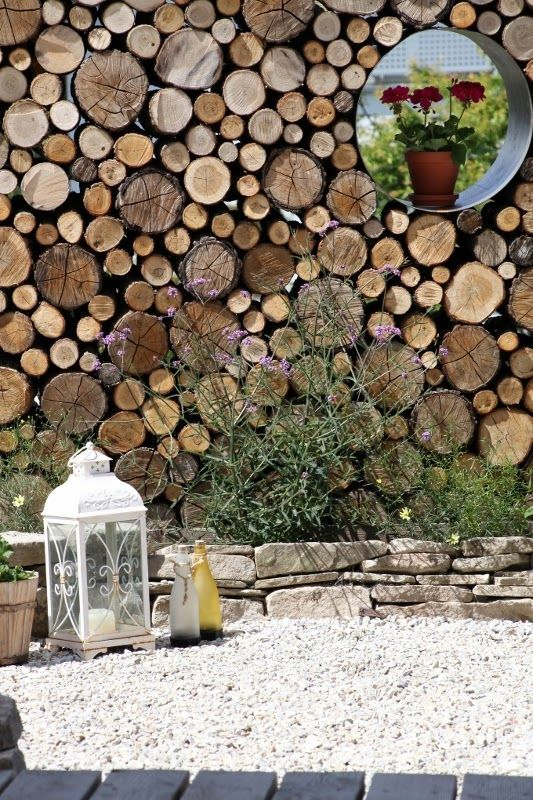Do|Mi|s Garten: Sichtschutzwand aus Rundhölzern & weiteres: