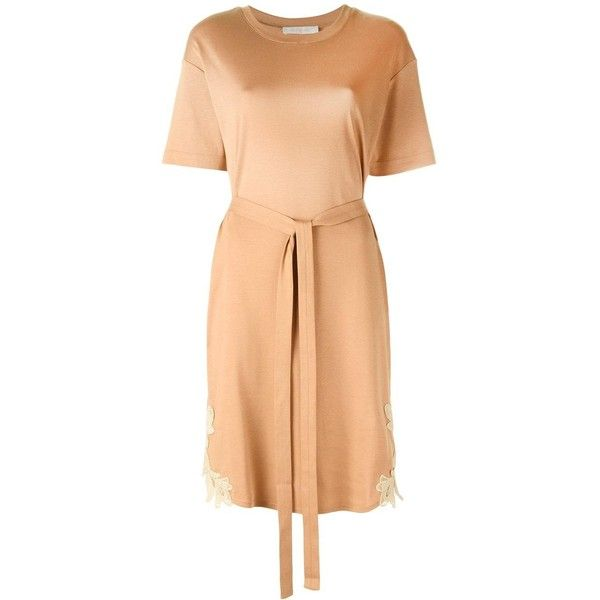 See By Chloé belted T-shirt dress ($157) ❤ liked on Polyvore featuring dresses, beige, t-shirt dresses, embroidery dress, tee shirt dress, beige dress and red dress