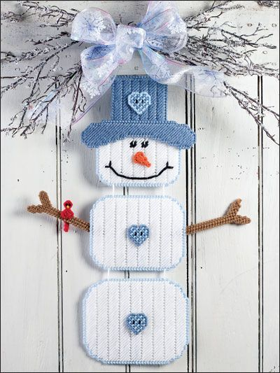 Country Snowman Welcome Plastic Canvas Pattern Download for $3.29 from e-PatternsCentral.com -- Welcome friends from far and wide when you adorn your door with this charming snow buddy!