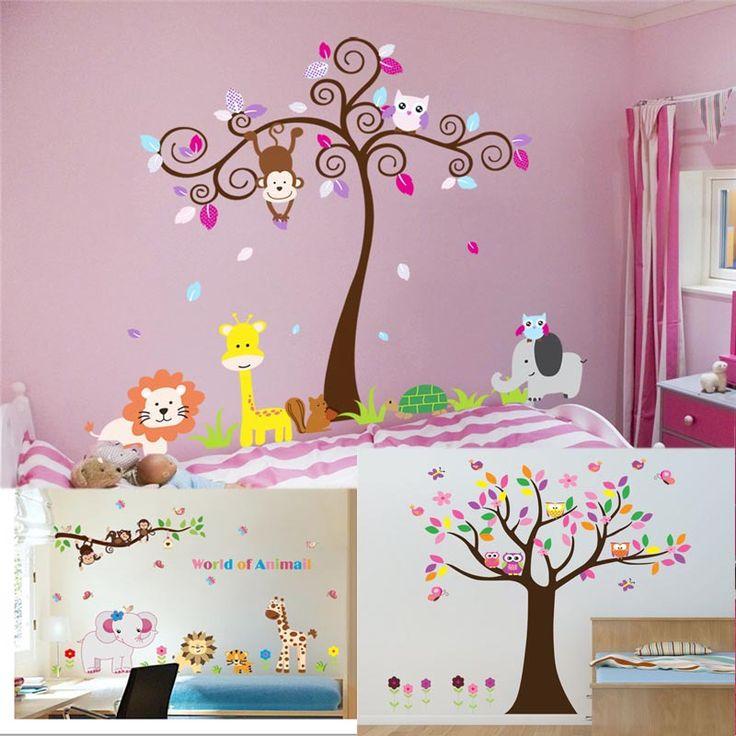 Животные играют стены стикеры для детской комнаты украшения 5108. зоопарк adesivo де паредес дерево главная переводные картинки фреска искусство 4.0 совы жираф