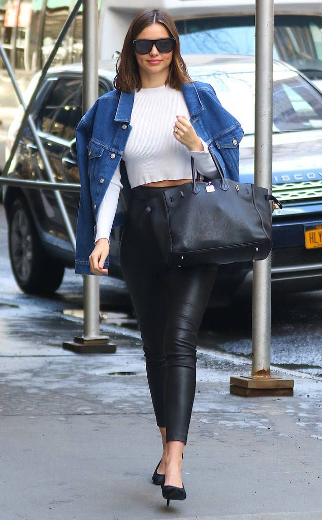 Casual Cool from Miranda Kerr's Street Style  The model looks chic in a crop top and leather pants while out and about in New York.