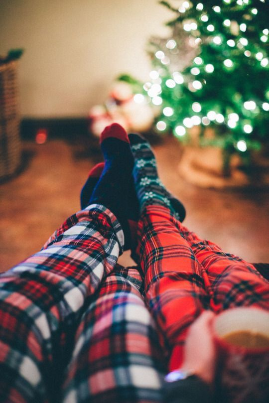 His & her's plaid pajama pants.