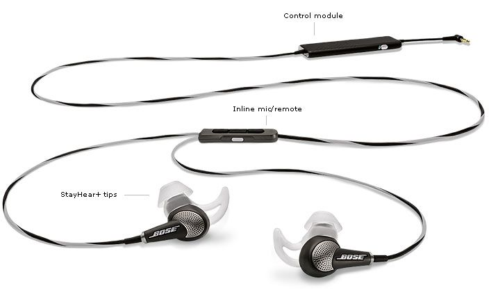 Bose QuietComfort 20i Acoustic Noise Cancelling In-Ear Headphones - QC20/20i headphones come with an inline control module and inline microphone/remote