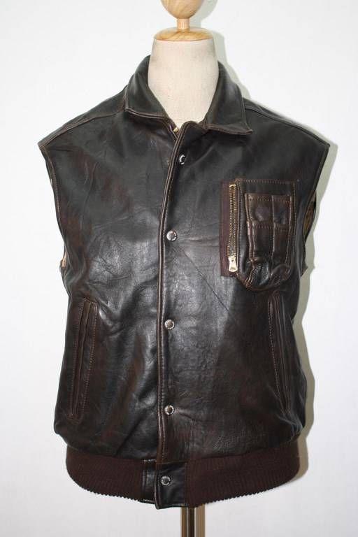 AVIREX B-9 USAAF Brown Leather Flight Pilot Jacket Waistcoat Size Medium