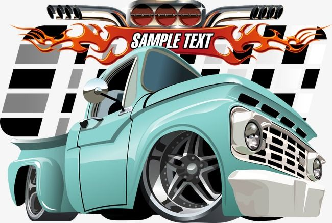 Vector Cartoon Pickup Truck Cartoon Pickups Pickup Vector