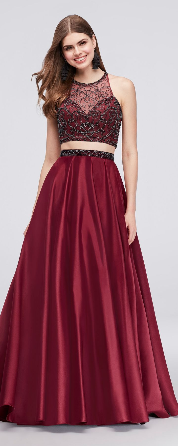 Two Pieces Wine Ball Gown Prom Dresses Prom Dresses Weddingideas Prom Dresses Dresses Prom Dresses Ball Gown [ 1800 x 720 Pixel ]