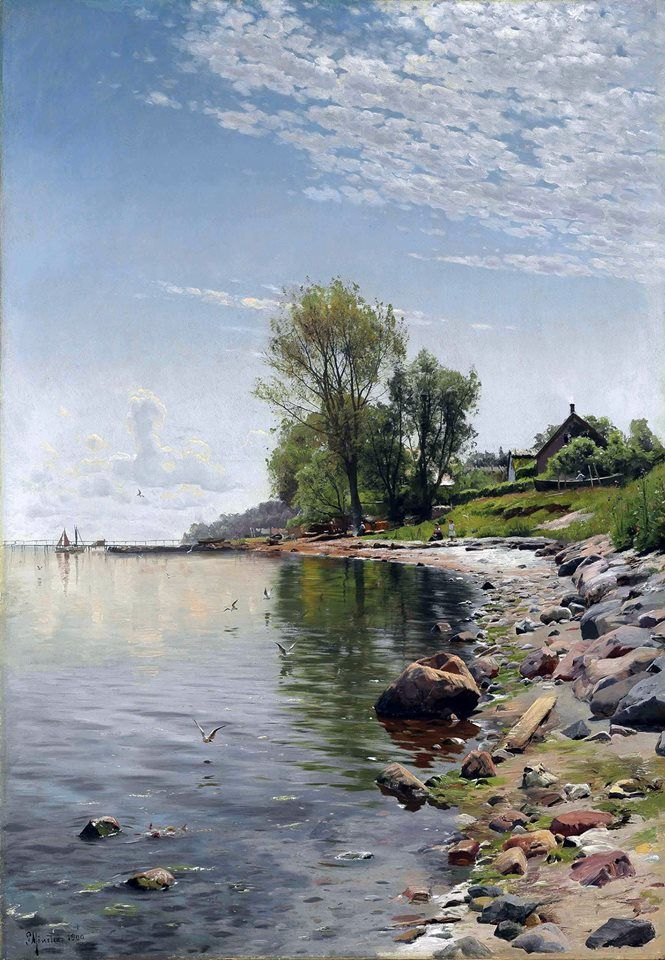 Peder Mønsted (Danish painter) 1859 - 1941, Kystnære Visning (Coastal View), 1900, oil on canvas, 118.1 × 83.8 cm. (46.5 × 33 in.), signed and dated 'P Monsted 1900.' (lower left), private collection