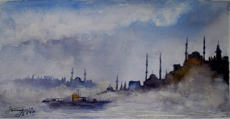 Dreamy foggy day in Istanbul - Watercolor painting #Impressionism