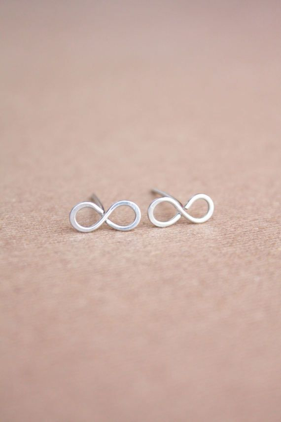 Sterling Silver Infinity Earrings Tiny Silver Studs by DiAndDe