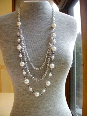Long Pearl Necklace - Love this layered necklace trend/ I like the pearl strand and the silver beads, but I think I would put a darker grey like the sm. dk. grey beads in the pearl necklace instead of the plain chain.