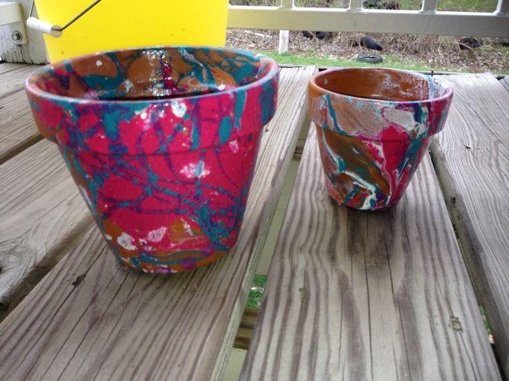 nail polish pots Nail polish marbled flower pots