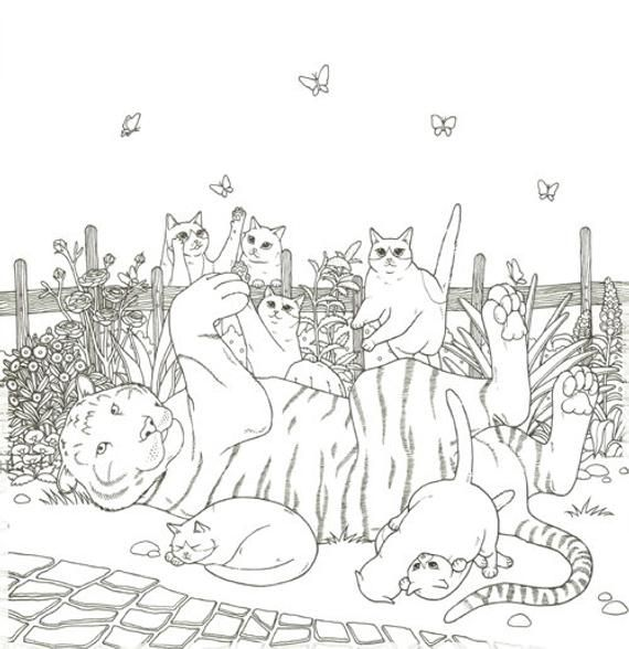 Cat Coloring Therapy Vol 2 Cat Coloring Book By Grace J Etsy Cat Coloring Book Coloring Books Cool Coloring Pages