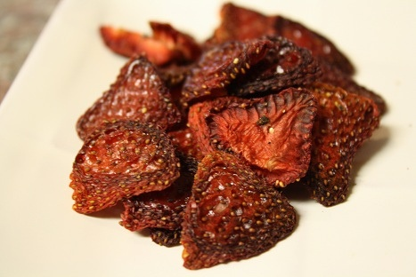 Dried strawberries- they taste like candy but are a nutritious snack! To make these tasty treats, just cut the strawberries in halves, season with salt and pepper, and bake in the oven for 3 hours. Enjoy!