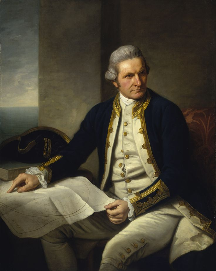"""Portrait of Captain James Cook (1728-79), circa 1776, by Nathaniel Dance. """"Captain Cook... is wearing captain's full-dress uniform, 1774-87, consisting of a navy blue jacket, white waistcoat with gold braid and gold buttons and white breeches. He wears a grey wig or his own hair powdered. He holds his own chart of the Southern Ocean on the table and his right hand points to the east coast of Australia on it."""" - National Maritime Museum, Greenwich, London"""