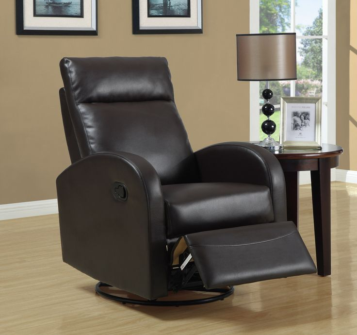 Relax in style in this brown bonded leather recliner on a metal base. The modern design features soft bonded leather and foam fill, but operates like a traditional recliner with swiveling and gliding motions. Chair measures 40' x 30' x 36'.