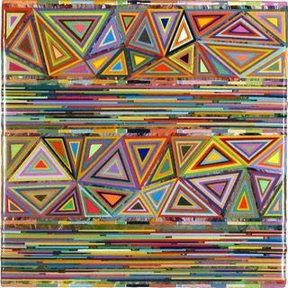 "Mark Ottens, UNTITLED (Alternate Stripes), Acrylic on Panel, 6 x 6 x 2"""