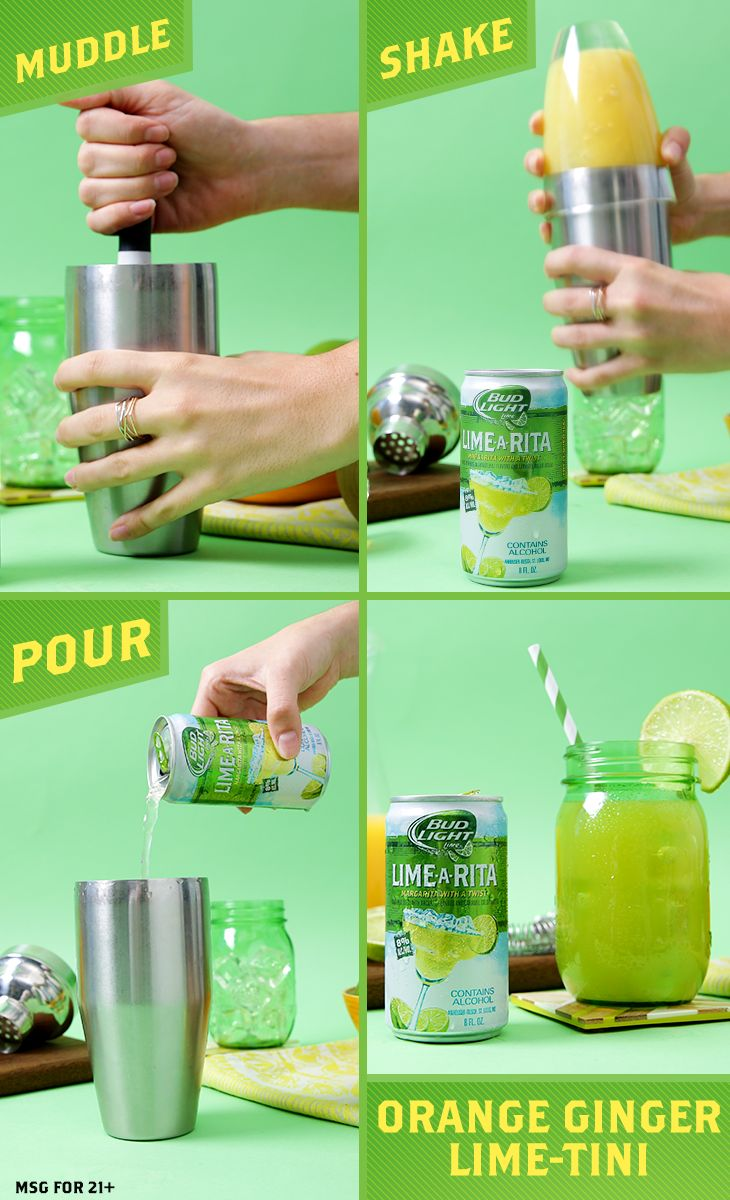 This classic drink recipe is the root of all easy. Color it simple. 1) Place ginger into a shaker and muddle with agave syrup. 2) Add lime juice, orange juice, seal and shake vigorously until chilll. 3) Add Lime-A-Rita and strain into glass. 4) Garnish and serve