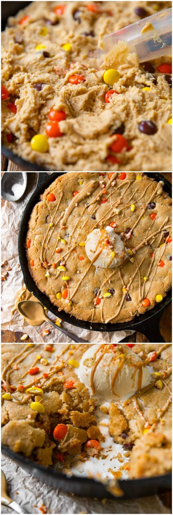 Giant peanut butter skillet cookie meant for digging in! Or bake as mini skillet cookies for an even quicker treat.