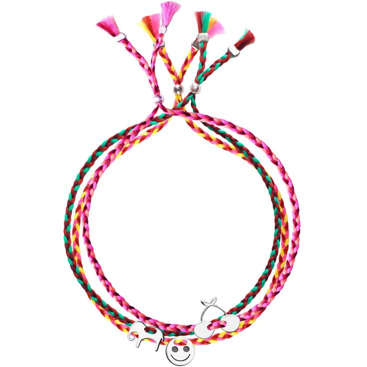 No.125 Set of Three Silver Charm Ribbons - Elephant, Smiley, Cherries - Sorbet Bracelets