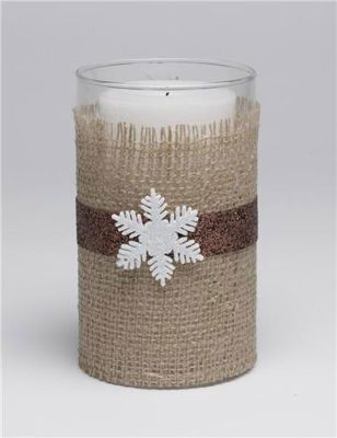 Burlap wrapped candles. Trim burlap to fit around glass cylinder. Leave space on top so glass shows & add extra at bottom for overlapping. Apply coat of Mod Podge to glass, position burlap, smooth the fabric. Apply topcoat of Mod Podge & let dry for 3 hrs. Hot glue band of ribbon around center, then snowflake. Or whatever embellishment suit. Can use various sizes of cylinders for an arrangement.