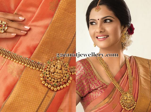 Gold Vaddanam cum Long Chain - Jewellery Designs