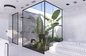 Tropical jungle atrium and recessed bathtub   Urban contemporary bathroom. Design by Eleni Psyllaki @myparadissi