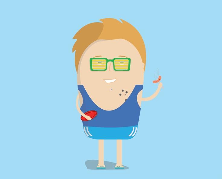 GarageTrader's mascot Gary getting as Aussie as possible for Australia Day.  #graphicdesign #design #illustration #cartoon #website #wedesign #straya #australia