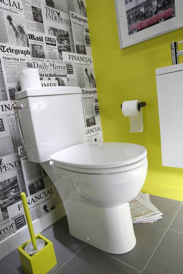 modele papier peint wc journaux pour deco toilette zen vert fluo ...