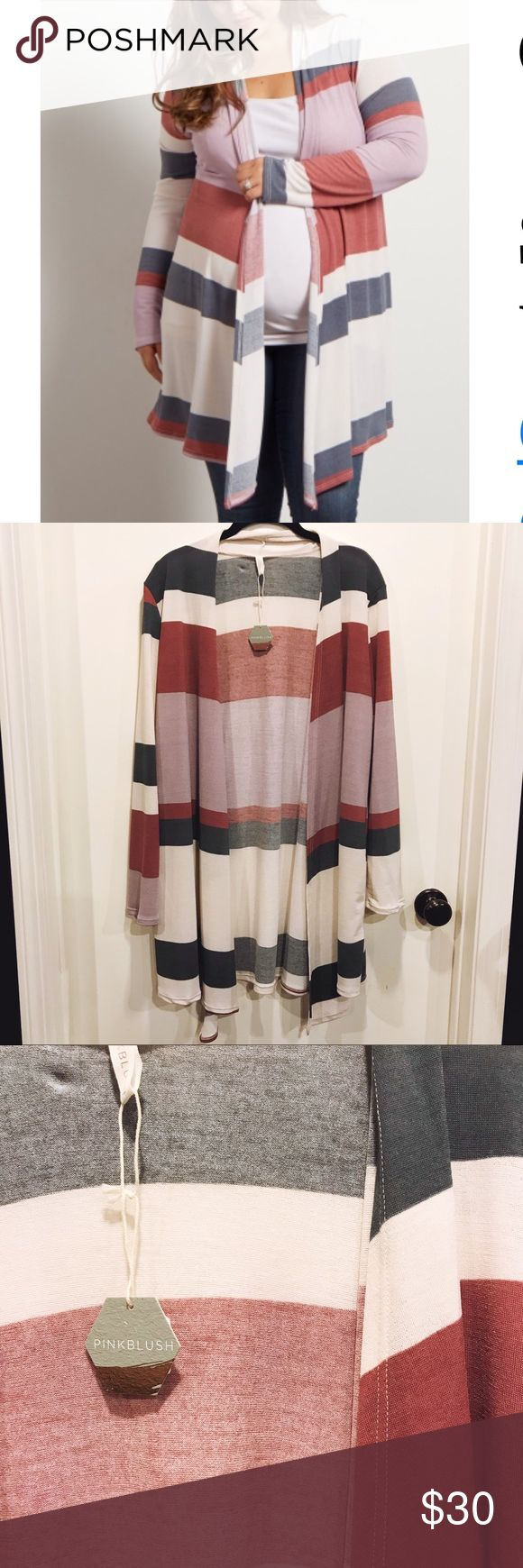 Pinkblush Maternity Open Cardigan Lightweight Pinkblush Maternity open cardigan. Plus size 1X. Pink color block. Great transitional piece that can be worn well after baby arrives. New with tags. Pinkblush Sweaters Cardigans