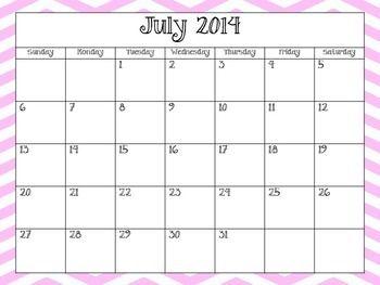 Chevron School Calendar 2014-2015