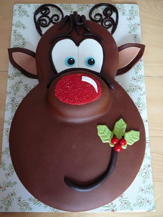 Reindeer cake: fairly easy cake to make. Looks like it uses three round cakes of different sizes.