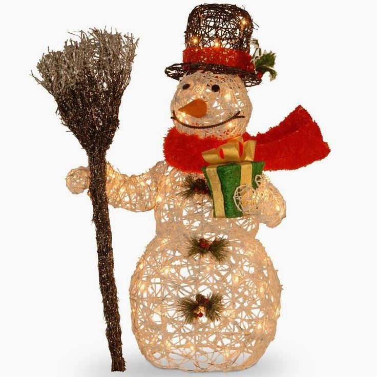27 Inch White Ratton Snowman Holding Gift And Broom With 50 Cle Decorating With Christmas Lights Outdoor Christmas Light Displays Outdoor Christmas Decorations