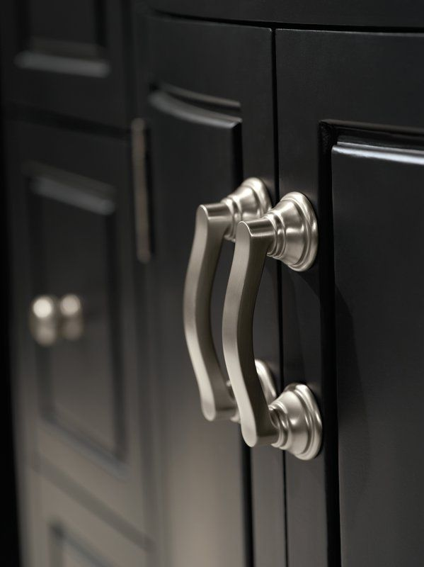 Brushed Nickel Cabinet Pulls Look Cly And Understated With Black Cabinets Future House Kitchen Hardware S