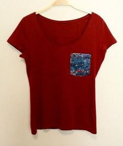 "Handmade Burgundy T-shirt with ""Ambient Pollock"" blue color pocket!"