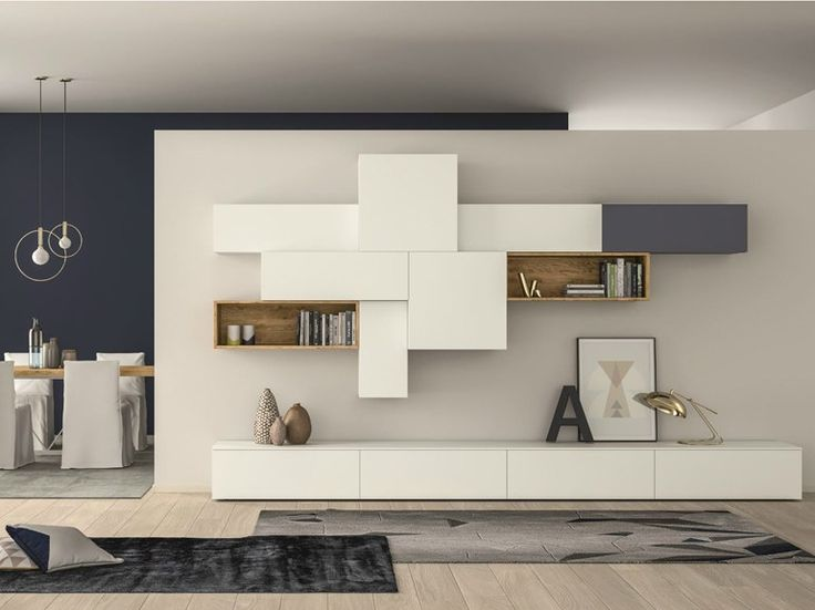 Mueble modular de pared composable lacado SLIM 88 by Dall'Agnese diseño Imago Design, Massimo Rosa