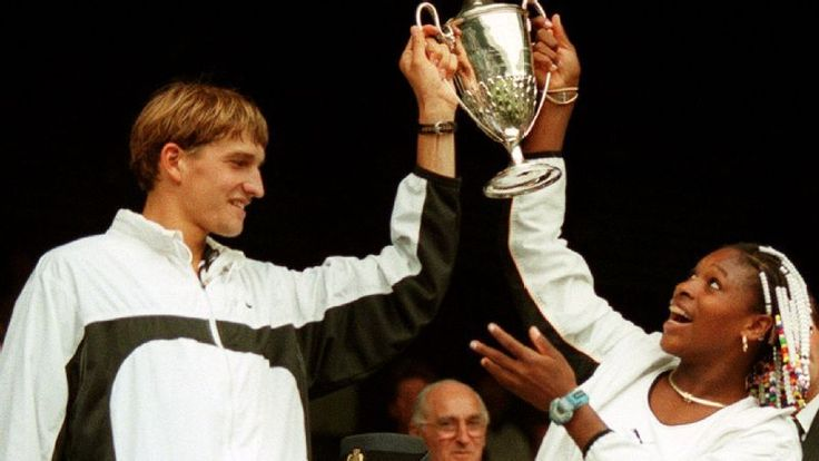 Serena Williams and Max Mirnyi after winning Wimbledon mixed doubles in 1998.