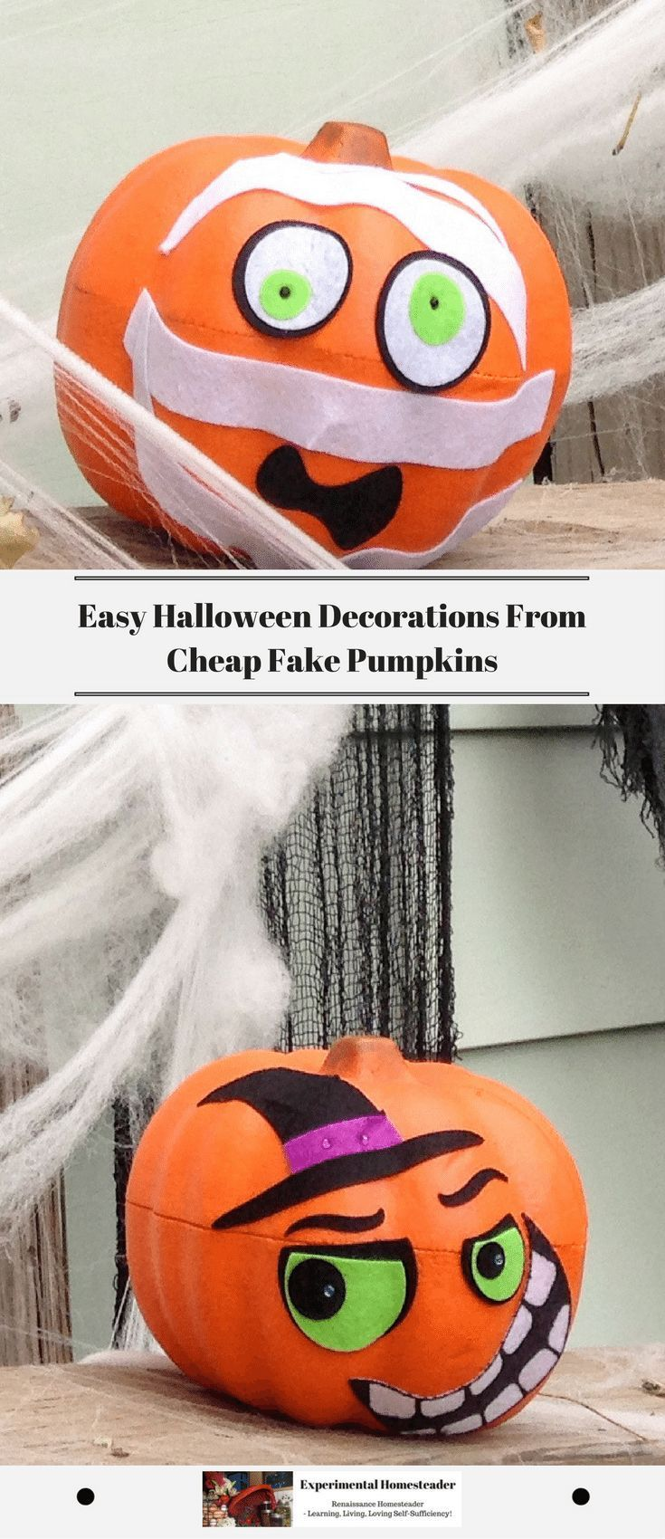 Yes, you can make easy Halloween decorations from those cheap fake pumpkins - and best of all they are perfect for kids to decorate. #easyHalloweendecorations #cheapfakepumpkins #DIYDecorIdeas
