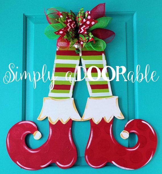 Feliz Navidad Elfo piernas suspensión de puerta por