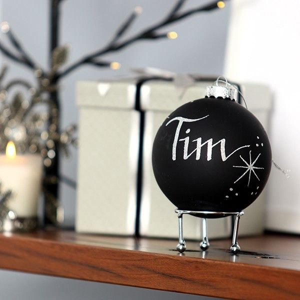 Black Glass Personalised Christmas Bauble in Luxe Christmas w/silver glitter