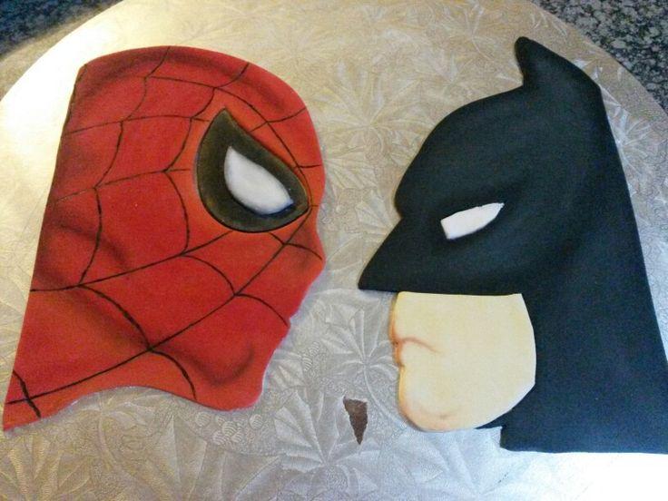 Spiderman vs Batman handmade cake toppers