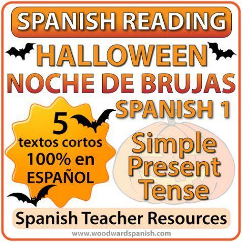 5 shortReading Passages about Halloween in Spanish with comprehension questions  5cuentos cortos originales acerca de la Noche de Brujascon preguntas de comprensión