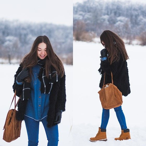 Get this look: http://lb.nu/look/8580575  More looks by Gabriela Grębska: http://lb.nu/mowmigaba  Items in this look:  Sheinside Fur, Pull&Bear Jeans, Timberland Boots, Oasap Scarf, Bag   #casual #street #ootd #outfit #black #fur #timberland #jeans #winter