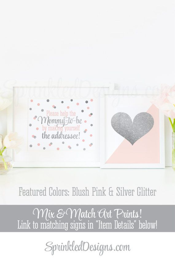 Baby Shower Address an Envelope Sign, Envelope Addressing Station, Blush Pink Gray Silver Glitter Printable Baby Girl Baby Shower Decoration by SprinkledDesigns.com