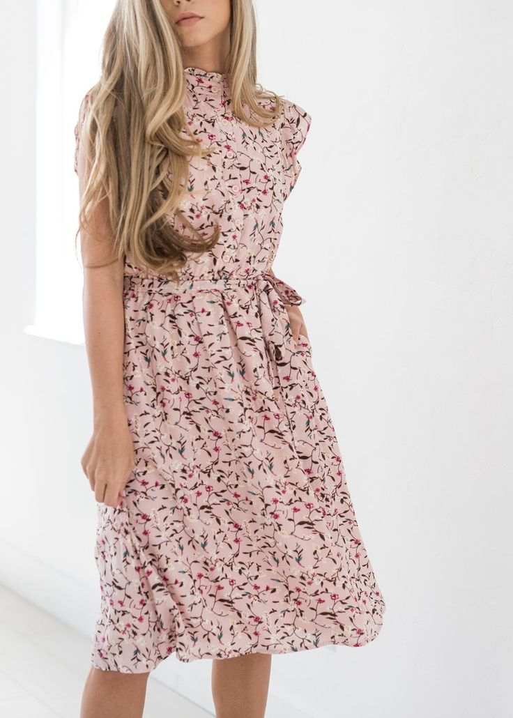 Color Me Pink Floral Ruffle Dress-JessaKae, New Arrivals, Dress, Pattern, Cute, Love, Blush, Pink, White, Tie, Neckline, Details Floral, Neutrals, Hair, Blonde, Makeup, Beauty, Womens Style, Womens Fashion, Spring Style, Spring Time – JessaKae